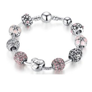 Pink Antique Silver Charm Bracelet & Bangle gifts